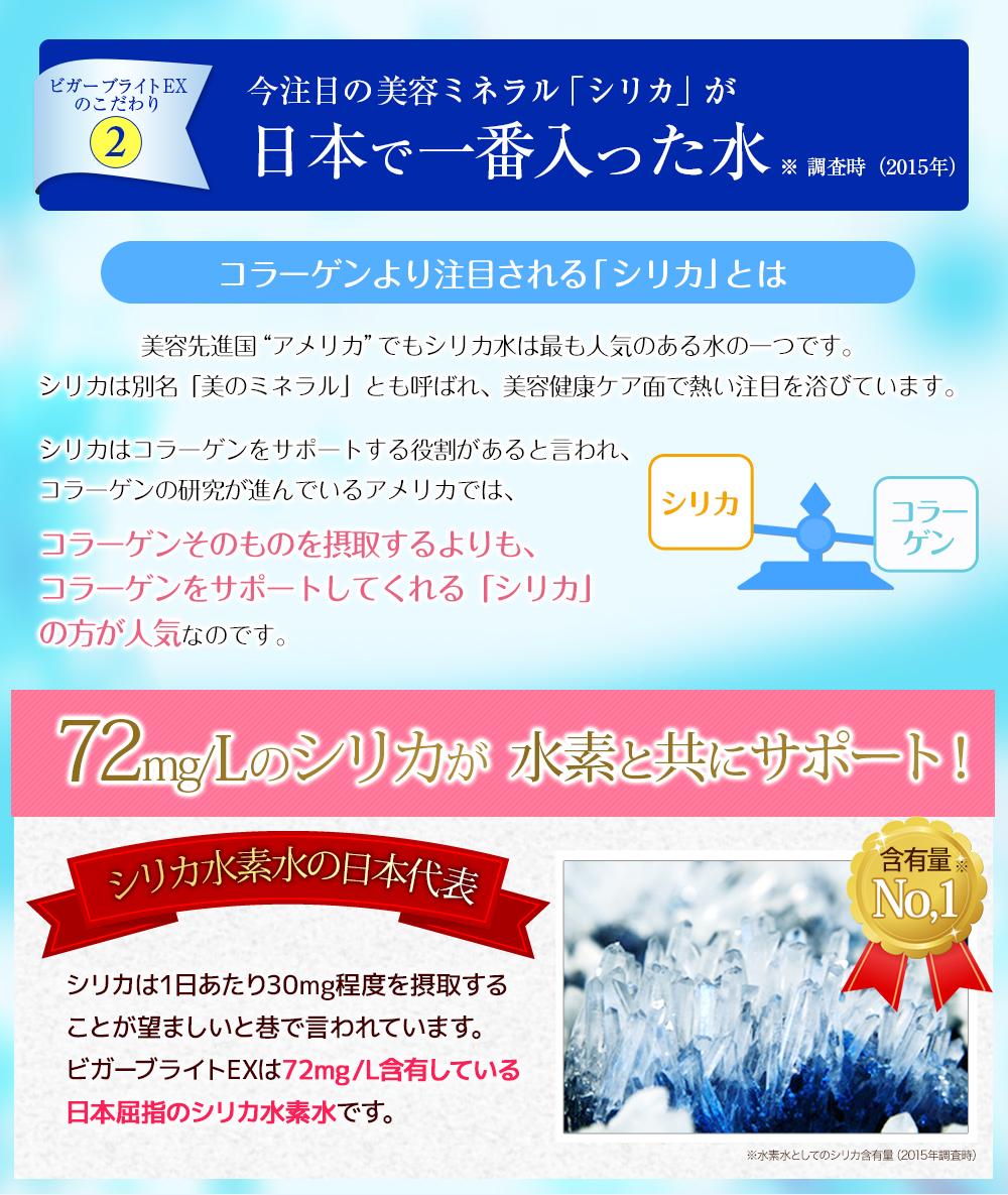 ビガーブライトEXのこだわり2 今注目の美容ミネラル「シリカ」が日本で一番入った水